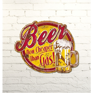 Placa Beer now cheaper than gas 24x19,5cm
