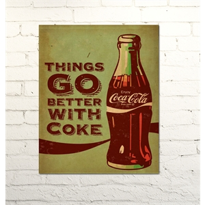 Placa Decorativa Things go better with coke metalizada